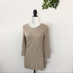 St. John Tan Gold Cashmere Ribbed Sweater S